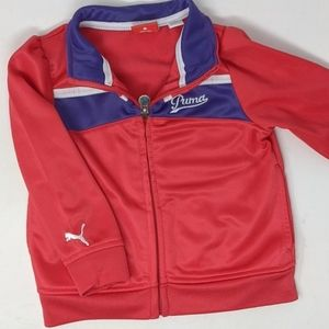 Puma zip up sweatshirt coral purple white jacket